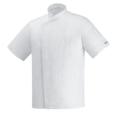 Fehér, rejtett patentos rövid ujjú szakácskabát