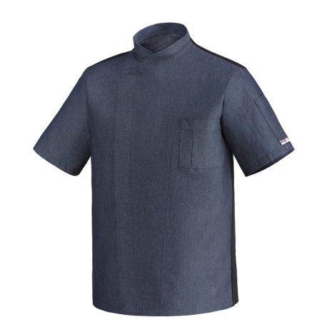 Szakácskabát - farmer anyagú, patentos, hálós hátú, rövid ujjú