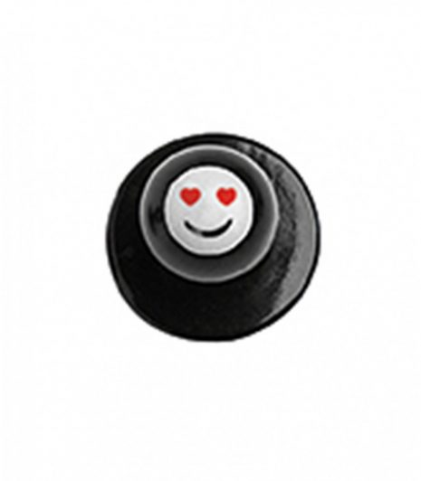 Szakácskabát gomb - szívecskés szemű smile