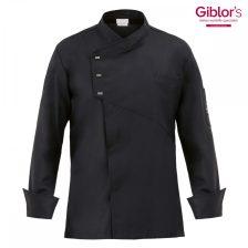 Gilblor's, fekete, hosszú ujjú, díszpatentos, szakácskabát
