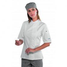 Női szakácskabát - fehér, rövid ujjú, patentos