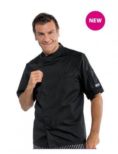 Fekete rövid ujjú patentos szakácskabát