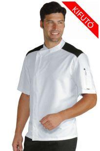 Fehér rövid ujjú patentos hállós vállú szakácskabát