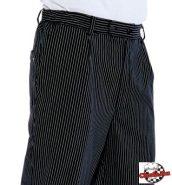 Chef nadrág fekete alapon vékony fehér csíkokkal