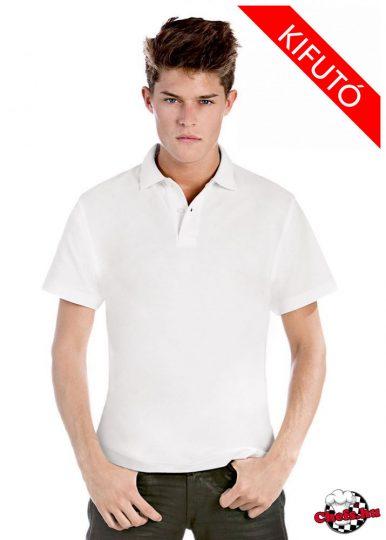 Fehér galléros pamut póló 180 grammos
