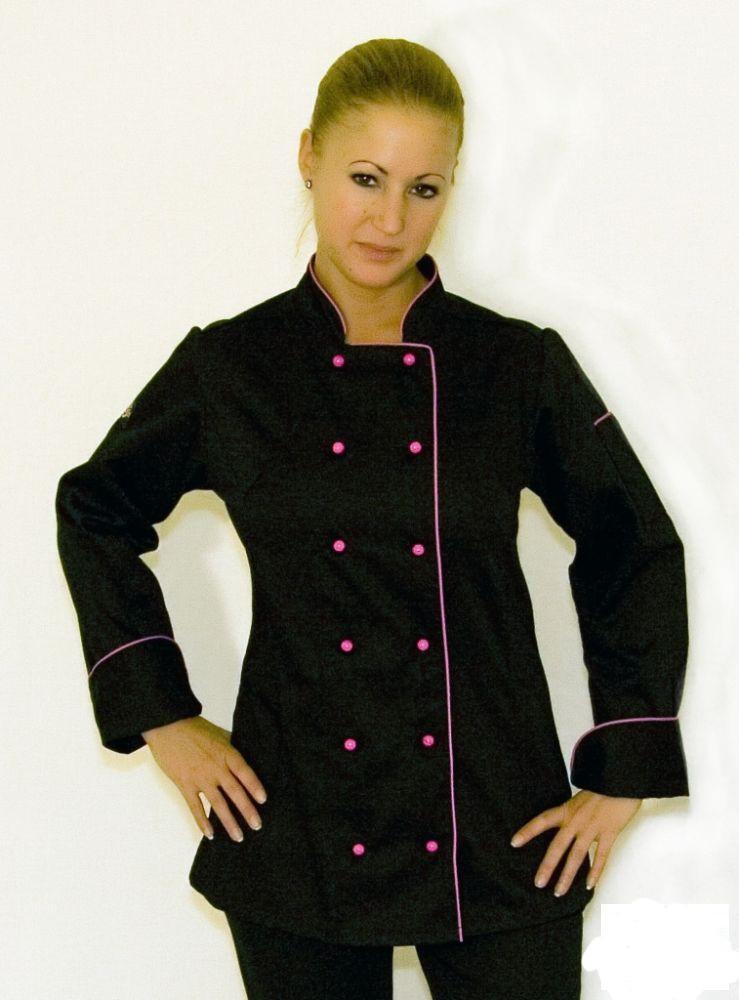 5a79529257 Női szakácskabát - fekete, hosszú ujjú, pink paszpól díszítéssel ...
