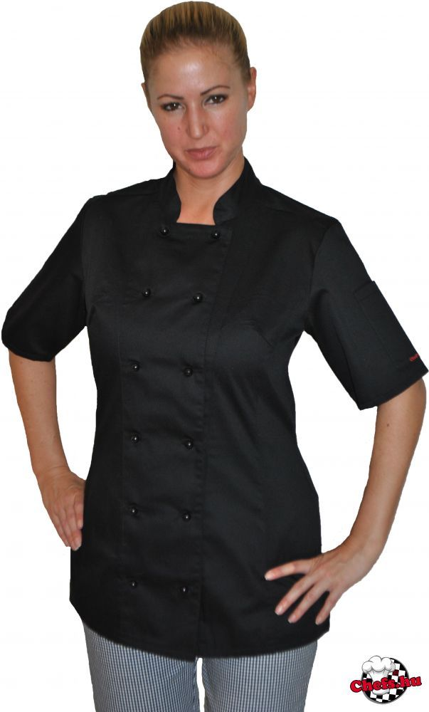 14857d7d68 Női szakácskabát - fekete, rövid ujjú, fekete színű kivehető gombokkal