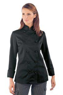 Női, fekete, hosszú ujjú szakácskabát
